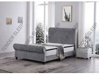 King Size Plush Velvet Ottoman Storage Sleigh Bed Frame only grey Colors