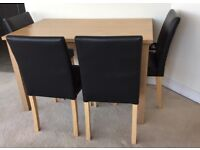 Primo 120 cm Dining Table with 4 Faix Leather Chairs