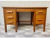 Vintage Wooden Desk with Drawers #D521