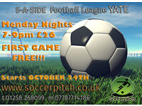 New Five a Side Footbal League starting at YIA Monday 24th October, FIRST GAME FREE!!!