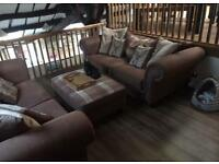 Two 3-Seater Sofas x 2 and large footstool - MicroFibre - Foam Filled cushions - 6 MONTHS OLD!
