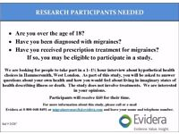 MIGRAINE STUDY: Participants needed for Paid Study in London