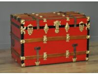 Attractive Large Antique Red Painted Metal Chest Storage Shipping Trunk Toy Box