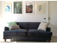 Orson 3 Seater Sofa, Midnight blue Velvet