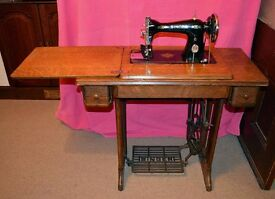 Singer Treadle Sewing Machine 1936 Model 15K with original attachments
