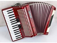 Chanson 72 Bass Accordion - 3 Voice - Red Pearl - In Good Condition