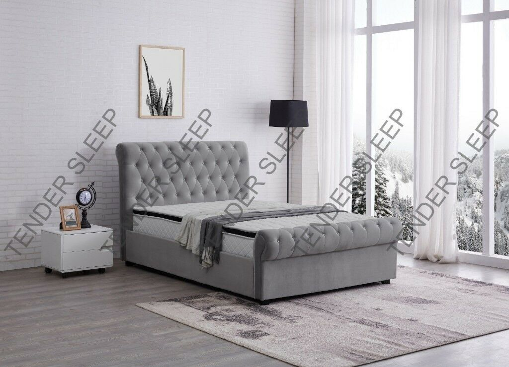 High Quality - Sleigh Velvet Double Bed/King Size Bed Frame Storage ...