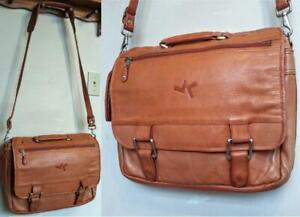 CAMEL BROWN Real Leather BAG Messenger Large Satchel US Crossbody Canyon Unisex Briefcase Work School Man Woman Child