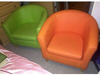 Bright green and orange faux leather tub chairs/seats
