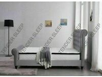 PLUSH VELVET NEWLY INTRODUCED HIGH QUALITY KING SIZE CHESTERFIELD SLEIGH OTTOMAN STORAGE BED FRAME