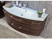 Designer German bathroom furniture Vanity plus LED mirror cabinet, white glass basin rrp £1980