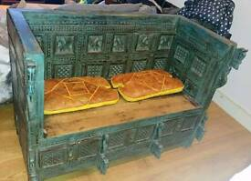 Hand Carved Wooden Bench