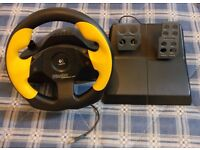 Logitech Wingman Formula GP Arcade Racing USB PC Gaming Steering Wheel - Classic