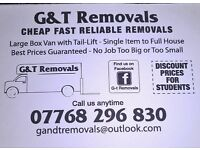 G & T Removals, cheap, fast, reliable removals call 07768296830