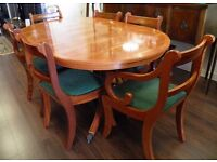 Lovely Yew Extending Dining Table & Eight Chairs - WE CAN DELIVER