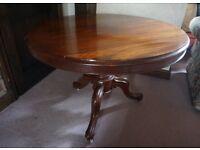 Antique Victorian Circular Large Occasional Pedestal Tilt Table