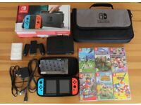 Nintendo Switch Console, Six Games + Carry Case For Sale