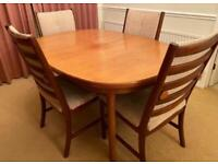 Mid century retro vintage extending dining table and chairs Mcintosh GPlan