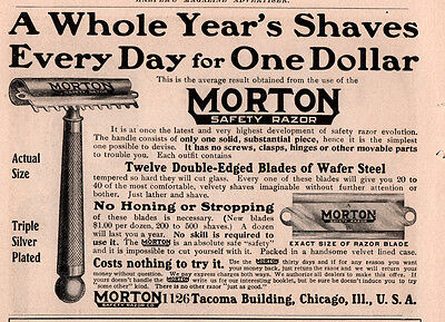 AD lot of 2 05 A  MORTON SAFETY RAZOR CO ADS BEST BLADE ONE YEAR SHAVE (Best 2 Blade Razor)