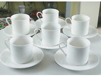 Royal Doulton 'Regency White' design cups and saucers x 6