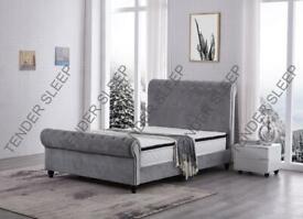 furniture online-King Size Plush Velvet Ottoman Storage Sleigh Bed Frame-optional mattress