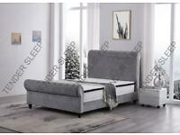 furniture online-King Size Plush Velvet Ottoman Storage Sleigh Bed Frame-optional mattress