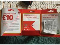Vodaphone SIM card and £10 pound top up voucher