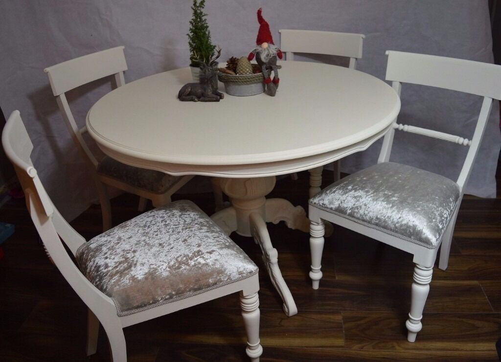 Shabby Chic Breakfast Table: SHABBY CHIC FRENCH LOUIS STYLE ROUND DINING TABLE & 4