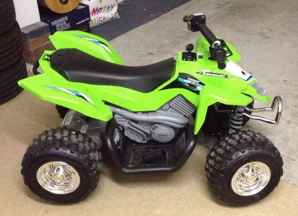 Kids 12v Kawasaki Atv Electric Ride On Quad Bike Green