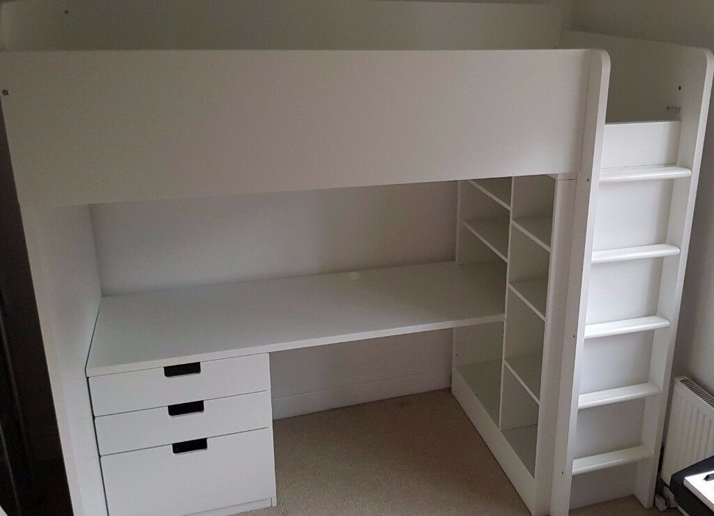 Details About White 3 Piece Storage Drawers Twin Bed Box: Ikea STUVA Loft Bed Frame With Desk, Drawers And Under Bed
