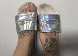 WORN silver slider sandals/slippers size 4