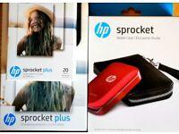 HP Sprocket Plus Smartphone Printer, Case & Paper