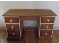 A large solid pine pedestal office computer / writing desk shabby chic style