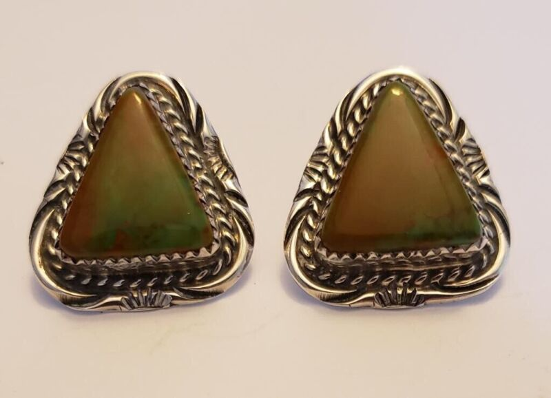 Southwestern Stamped Sterling Silver Turquoise Earrings