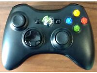 Original Xbox 360 wireless controller with wireless charger, and skins