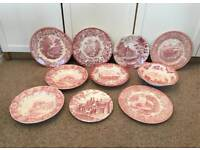 11 Piece Set Of Vintage Pink/White Pattern Plates & Dishes/Bowls