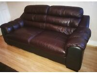 Small 3 seater brown Leather sofa