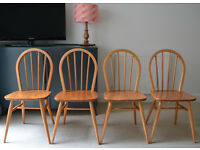 4 X 1960'S ERCOL WINDSOR HOOP BACK KITCHEN DINING ROOM CHAIRS