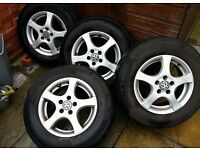 """SET OF VW 14"""" ALLOY WHEELS AND VERY GOOD TYRES"""