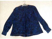 Next blue & Blk chiffon animal print blouse size 10