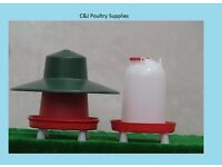 NEW CHICKEN POULTRY ECO FEEDER DELUXE 12KG + 12 LITRE COMBINATION DRINKER WITH LEGS