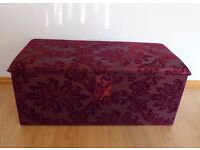 Cherry red fabric ottoman, storage box
