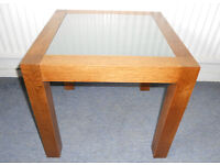 Solid Oak & Glass Topped Coffee Table, Side Table, Lamp Table