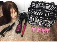 beauty hair care mannequin head and wallet bag