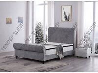 LIMITED STOCK AVAILABLE- BRAND NEW SLEIGH OTTOMAN STORAGE FABRIC VELVET DOUBLE BED & MATTRESS