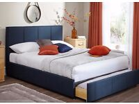 Dreams King Size Bed & HOVAG Mattress - Sunning blue fabric upholstery