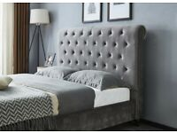 🔔🔔SUPERKING🔔🔔 SLEIGH GREY PLUSH VELVET BED FRAMES .. AVAILABLE FOR DELIVERY