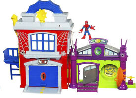 Playskool Spiderman Crime Fighting HQ Lair Playset with Green Goblin Cave - CAN POST 2U