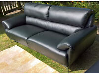 A Sample 3 Seater Enzo Black Leather Sofa ( a new 2 seater also available if a set is required)