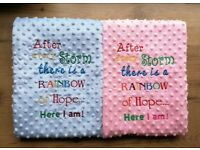Personalised Embroidered Baby blanket with Rainbow Baby Quote
